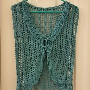 Women's Blue/Turquoise Crochet Sweater Vest